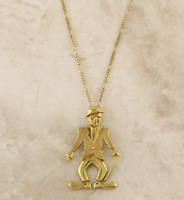 9ct Gold Necklace - 9ct Yellow Gold Articulated Charlie Chaplin Pendant & Chain