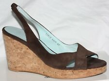 BODEN CHOCOLATE BROWN SUEDE LEATHER Wedge CORK Heel Strappy SANDALS Shoes 40 6.5