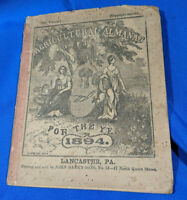 1894 John Bear Baer's Agricultural Almanac Lancaster, PA Antique Farmers VTG