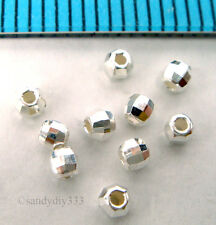 100x BRIGHT STERLING SILVER LASER DISCO MIRROR ROUND SPACER BEAD 2mm J064A