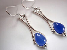 Blue Chalcedony with Curved Columns 925 Sterling Silver Dangle Earrings