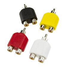RCA Y Splitter AV Audio Video Plug Converter 1-Male to 2-Female Cable Adapter T7