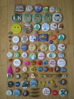 Vintage Lot Of (96) Pinback Buttons Lapel Pins & A Medallion