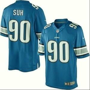 Official NFL Detroit Lions Ndamukong Suh Jersey Youth YL 90 Blue FAST SHIP! G56