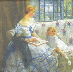 1 Lunch Papier Serviette Napkin (Jun32) Frau mit einem Bilderbuch und Mädchen