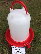 BRAND NEW DESIGN !! CHICKEN DRINKER WITH LEGS, 10 LITRES- RED - ANTI UV.