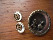 Vintage/Antique Pierrot singing to girl in the moon brass buttons