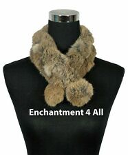 New Stylish 100% Rabbit Fur Handmade Self-Tied Neck Collar Scarf BOA, Camel/Gray