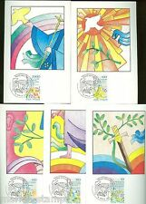 VATICAN CITY GOLDEN SERIES INT'L PEACE YEAR SET OF 5 MAXIMUM CARDS FD CANCELLED
