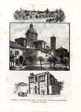 Stampa antica RAVENNA Cattedrale Palazzo di Teodorico e Panorama 1892 Old print