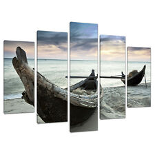 Five Piece Beach Canvas Wall Art Pictures Blue Boats Thailand 5107