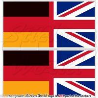 GERMANY-UK Flag, German-United Kingdom British Union Jack 110mm Sticker-Decal x2