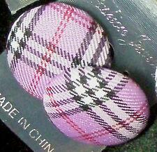 Button Post Earrings - Argyle Plaid Fabric - for Pierced Ears