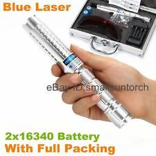 HIGH POWER Focusable Blue Laser Pointer Laser Torch Pen Burning Match + 2x 16340