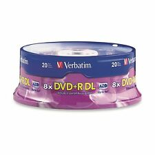 20 VERBATIM DVD+R DL DOUBLE LAYER 8.5 GB 8X 240 MIN AZO 20 PACK SPINDLE  95310
