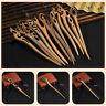 Women Handmade Vintage Chinese Wooden Hair Stick Wood Hairpin Shawl Scarf Pin