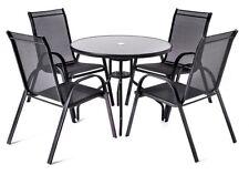 4+1 Sitzgruppe Gartenmöbel Gartengarnitur Tisch Stuhl Schwarz Gartenset