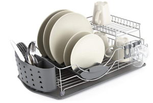 TOWER COMPACT 12 PLATE DISH RACK AND DRAINING TRAY + REMOVABLE CUTLERY HOLDERS