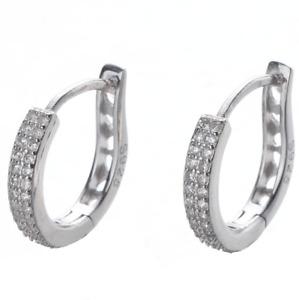 Women 925 Sterling Silver Waterdrop CZ Huggie Hoop Dangle Earrings 15mm Box PE53