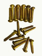 """#12 x 1-1/4"""" Vintage Round Head Slotted Wood Screws Solid Brass made in USA (20)"""