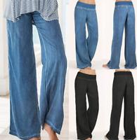 Women's Jeans Bottom Trousers Casual High Waist Stretch Denim Wide Leg Pants