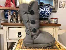 Ugg Women's Grey Suede Sheepskin Triplet Bailey Button Boots US S/N 1873 Sz 8