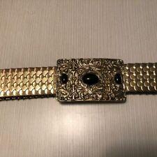 Vintage 1 3/4 inch Gold Stretch Cinch Belt Gold Metal Buckle w three black stone