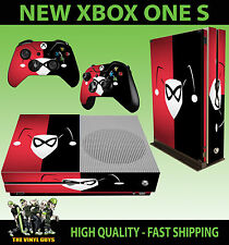XBOX ONE S SLIM Console Sticker Harley Quinn Red Black Mask SKIN & 2 PAD SKINS