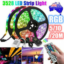 RGB LED Strip Lights 60LED/M IP33 3528 5/10/20M 12V 44key IR Controller +AU Plug
