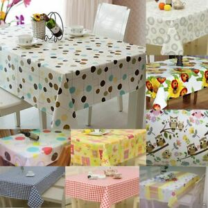 Large Wipe Clean PVC Vinyl Tablecloth Dining Kitchen Table Cover Protector Sheet