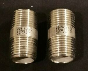 """1/2"""" x 1-1/2"""" Inch Shoulder 304 Stainless Steel Nipple NPT SCH 40 Lot of 2 NEW"""