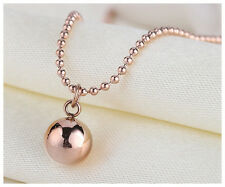 New 18K Rose Gold Filled Solid Women 8MM Round Ball Beads pendant Charm Necklace