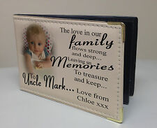 Personalised photo album, memory book, birthday christmas gift, family Uncle