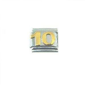 'Number 10' 9 mm Classic Italian Charm
