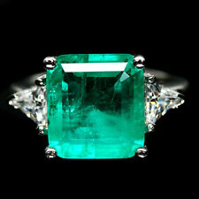 12 X 13mm. FOREST GREEN DOUBLET EMERALD & CZ STERLING 925 SILVER RING SZ 6.25