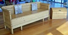 LARGE VINTAGE TIMBER BENCH SEAT DAY BED w STORAGE CHEST OUTDOOR INDOOR WOODEN