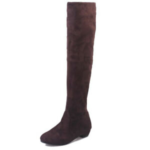 Womens Over the Knee Lace Up Bandage Thigh High Combat Low Heel Boots Flat Shoes