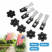20 Pairs Durable Yard Rubber Flag Stoppers Set Anti-wind Black With Clips Garden