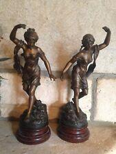 XIXe Ferville-Suan Paire Régule Jeunes Femmes Danseuses Sculpture Statue 19th