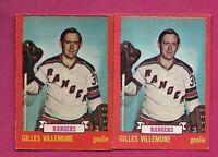 2 X 1973-74 OPC # 119 RANGERS GILLES VILLEMURE GOALIE CARD (INV#4242)