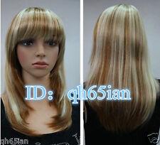 Fashion Women wig ladies Blonde mix Natural Hair wigs + free wig cap