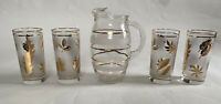 Antique Glass Ice Tea Pitcher Set 5, Tall Glasses, Etched, Gold Leaves, Stripes