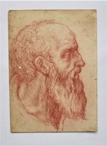 OLD MASTER. school of Da Vinci. An Old Man's Head. Red chalk  On laid paper.