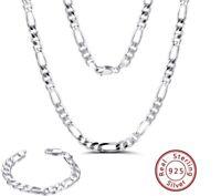Figarokette Armband Massiv 925 Silber Halskette Herren Damen-Kette 19cm - 60 cm