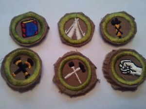 6 FINE TAN TWILL BOY SCOUT MERIT BADGES IN EXCELLENT CONDITION
