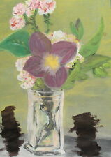 2008 Fauvist gouache painting still life with flowers signed