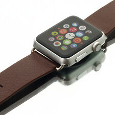 Brown Genuine Leather Buckle Wrist Watch Band for iWatch Apple Watch w/ Adapter