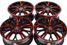 "4 New Ddr R25 17x7 5x108/110 40mm Black/Polished Red 17"" Rims Wheels"