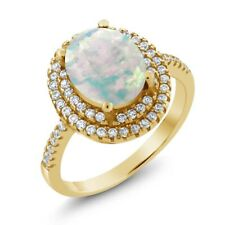 1.90 Ct Oval Cabochon White Simulated Opal 18K Yellow Gold Plated Silver Ring