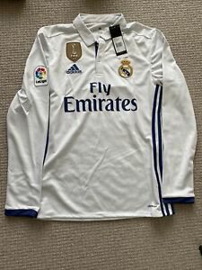 REAL MADRID LONG SLEEVE HOME JERSEY GARETHBALE SIZE SMALL CWC PATCH BNWT 2016-17